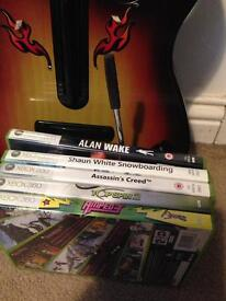 Xbox 360 guitar and games
