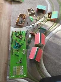 wooden farm play set and animals