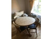 "3' 6"" Round table c/w 4 pine chairs"