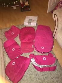 Huge pink bugaboo bundle footmuff hood apron breezy hood seat liner