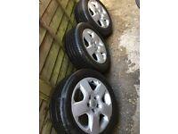 3 x wheel tyres - Vauxhall Astra