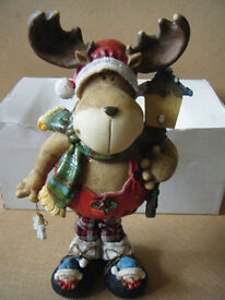 "Resin Premier ""Fabric Leg CHRISTMAS MOOSE"". Boxed."