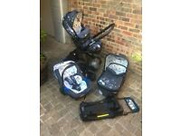 Cosatto Wow Travel system pram, carrycot, pushchair, muff, car seat in Berlin pattern