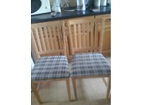 Two wooden kitchen chairs still available