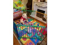 8 panels baby wooden play pen activity centre room divide