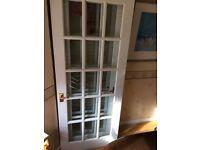 Solid white painted mahogany doors x2