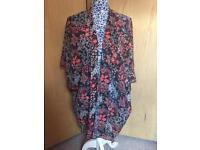 Navy Floral Kimono - Size Medium - 12-16