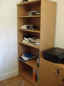 Office book case in Oak finish, tall with adjustable shelves