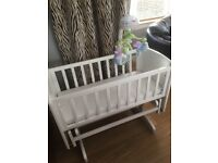 Stunning solid white wood baby crib with rocking/gliding motion and mattress