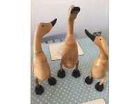 X3 wooden ducks