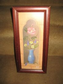 Flowers in Vase Colourful Print in a Glazed Wooden Frame