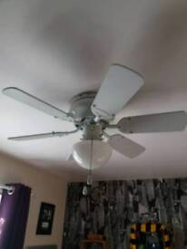 White ceiling fan / light