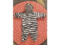 Zebra print baby snowsuit - 3-6 months