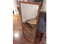 Free Ikea mirror with pine frame in ok condition - 40cm x 97cm