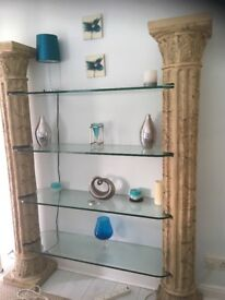 Roman / Greek style glass display unit ! Suitable for hairdressers salon spa hitel etc or home