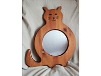 Lovely wooden cat mirror for sale ideal for a cat lover