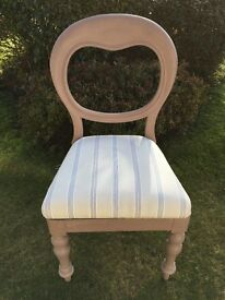 Balloon back chair painted with Annie Sloan paint and reupholstered in striped fabric.