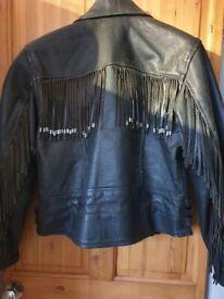 Black Leather motorbike jacket size (S) to (M) mens