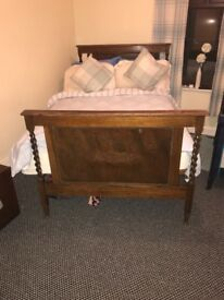 Antique French solid wallnut double bed