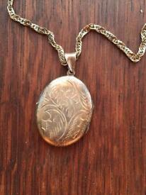 Vintage solid silver locket and chain