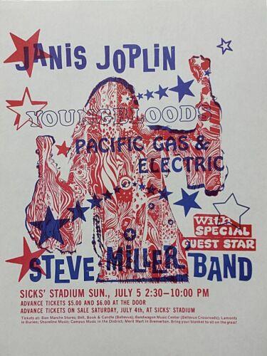 RARE Janis Joplin 1970 ORIGINAL Steve Miller Seattle Band Concert Poster Flyer