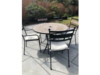 Large Mosaic table 4 chairs
