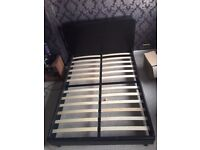 Brown Faux Leather Double Bedframe