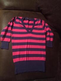 Blue and pink v neck jumper size 8
