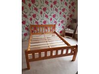 Pine double bed immaculate condition sold as seen