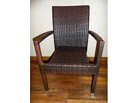 6 RIO RATTAN CHAIRS, WITH OR WITHOUT ARMS, STACKABLE, CHOCOLATE BROWN
