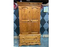 Fantastic Solid Pine Chunky Wardrobe with Drawers Tallboy Bedroom - Uk Delivery