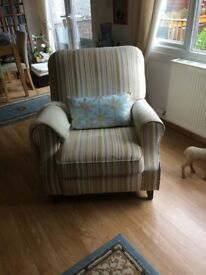 Recliner Chair Cream Silver and Olive Green - immediate pick up