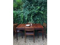Vintage Mid Century G Plan Extending Dining Table & 4 Brown Seated Dining Chairs