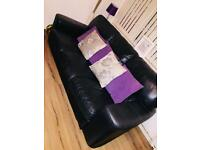 For swap black leather sofas