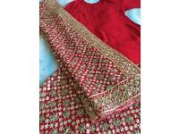 Ladies Handmade 5 Piece Red/Gold bridal Wedding Lengha Suit With Zardozi Embroidery