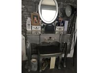 Dunelm Toulouse silver dressing table mirror and stool set like new