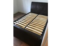 King sized brown leather bed frame