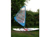 Windsurf Board, sail, boom, mast, dagger Board Complete setup