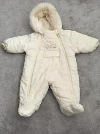 Cream snowsuit 3-6 months