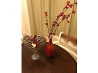 Heart wicker ornament & vase with artificial flowers