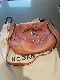 HOGAN designer shoulder bag with brass-tone furniture