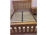 Oak bed set with mattress