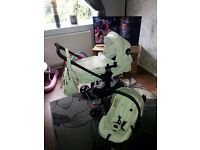 White leather travel system. Excellent condition. Only 5 months old.