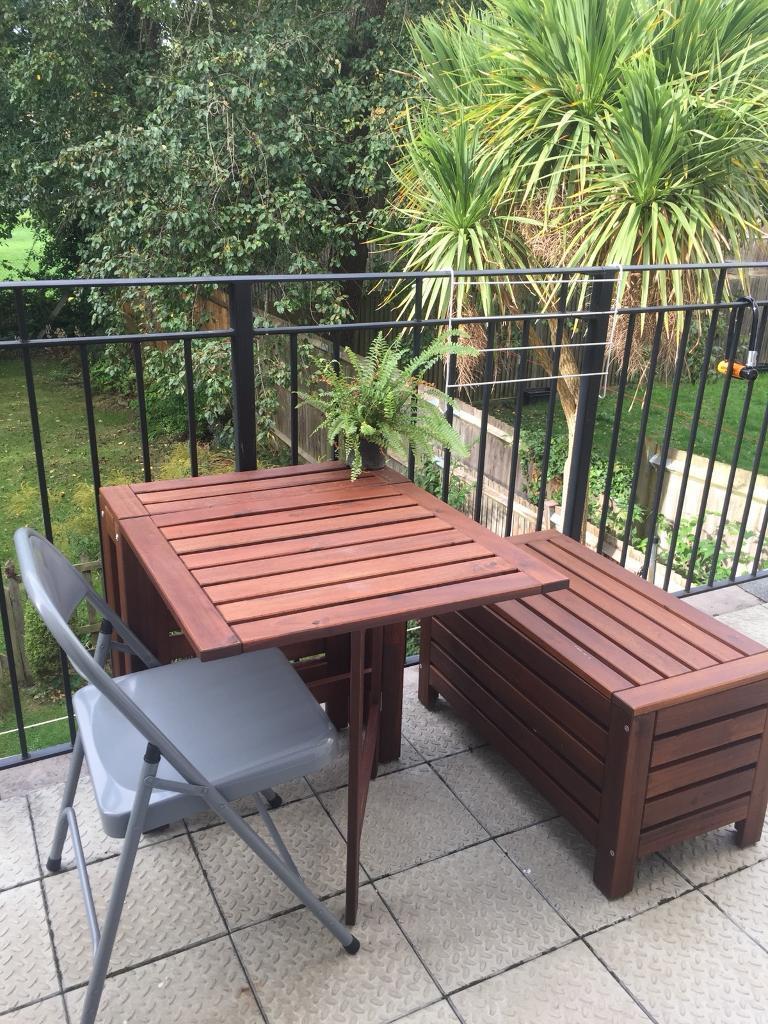 Ikea Outdoor garden/ balcony table and storage bench set ...