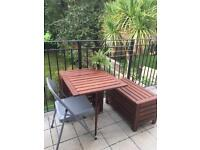 Ikea Outdoor garden/ balcony table and storage bench set