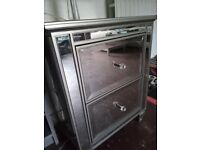 NEXT Bedside Cabinets, Mirrored 2 drawer with Antique Pewter Finish x 2