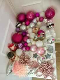 Beautiful Pink Selection Of 60 High Quality Christmas Baubles.