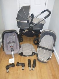 Icandy Peach 3 Travel System, Truffle/Grey! I Candy Pushchair, Carrycot & Maxi Cosi Pebble Car Seat!