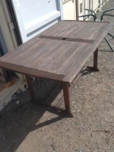 Oakville SOLID WOOD PATIO TABLE Outside Outdoors Rustic Primitive Weathered Brown Cottage Country
