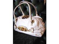 DESIGNER CREAM LEATHER HANDBAG WITH DUSTCOVER
